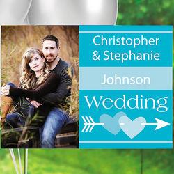Turquoise Custom Photo Wedding Yard Sign