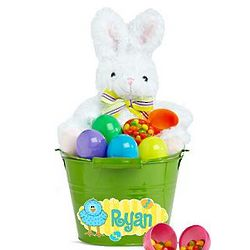 Personalized Easter Bunny Egg Hunt Green Gift Bucket