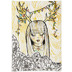 Deer Girl Print on Stretched Canvas