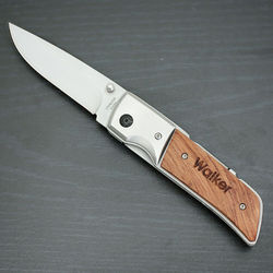 Engraved Rosewood Hunting Knife with LED Light