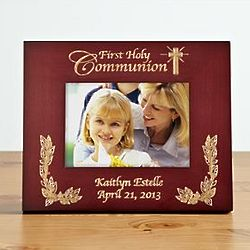 Horizontal Personalized Cherry Wood Communion Frame