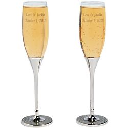 2 Bling Toasting Personalized Champagne Flutes