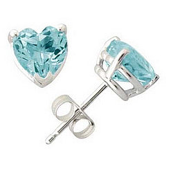 Heart Shaped Aquamarine Earrings in White Gold
