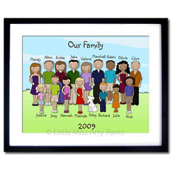Personalized Family Portrait 16 x 20 Framed Print