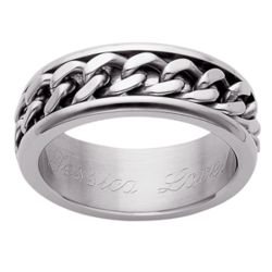 Personalized Men's Stainless Steel Curb Chain Spinner Band