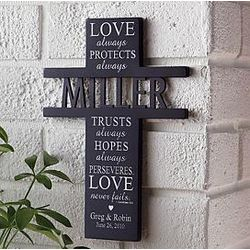 Personalized Love Always Protects Wood Cross