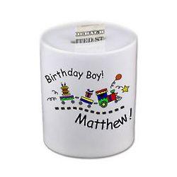 Birthday Train Porcelain Coin Bank