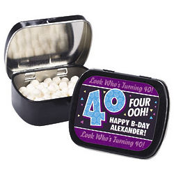 Personalized Look Who's Turning 40 Tins with Mints