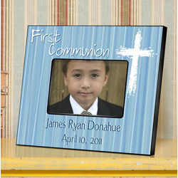 The Light of God Blue First Communion Personalized Picture Frame