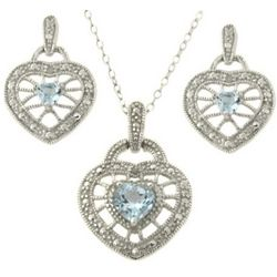 Blue Topaz Heart Pendant and Earrings