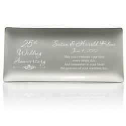 25th Wedding Anniversary Personalized Silver Tray