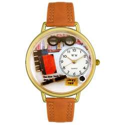 Book Lover Watch with Tan Leather Band