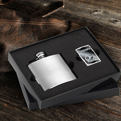 Personalized Oakland Raiders Zippo Lighter and Brushed Flask