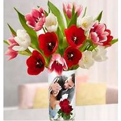 Personalized Vase with Valentines Day Tulips