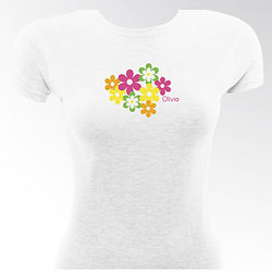 Happy Blooms Personalized Flirty Gal Fitted T-Shirt