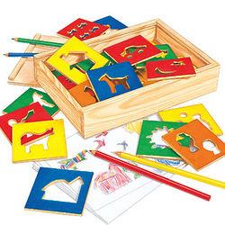 Children's Arts and Crafts Wooden Stencils Kit