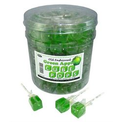 Old Fashioned Green Apple Cube Lollipops