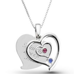 Couple's Personalized Sterling Silver Birthstone Heart Necklace