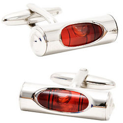 Red and Silver Level Cuff Links