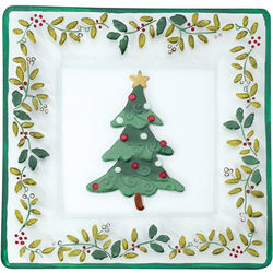 Winterberry Square Glass Christmas Tree Platter