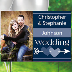 Navy Blue Custom Photo Wedding Yard Sign