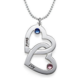 Silver Heart in Heart Necklace with Birthstones