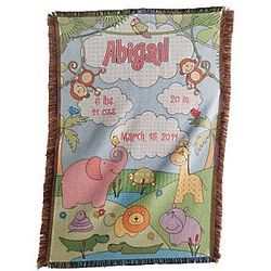 Pink Personalized Baby Information Jungle Throw