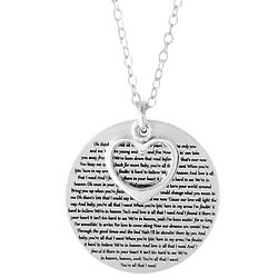 Engraved Sterling Silver Lyric Disc and Heart Charm Necklace