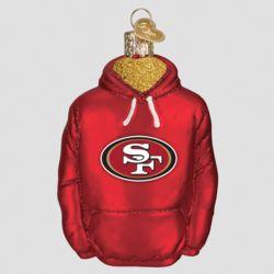 San Francisco 49ers Hand Blown Glass Hoodie Ornament