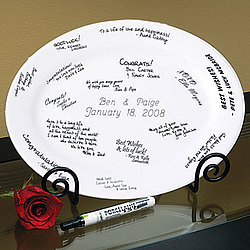 Personalized Guest Book Signature Platter with Pen and Easel