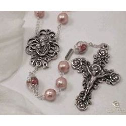 Mother's Pearl Rosary with Rose Crucifix
