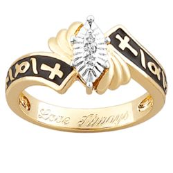 14K Gold Over Sterling Diamond Accent Cross Engagement Ring