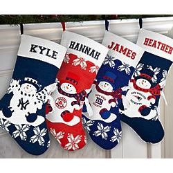 Personalized Team Snowman Knit Stocking