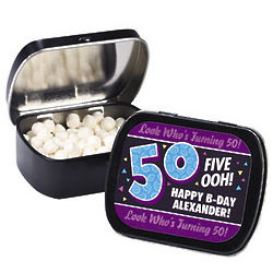 Personalized Look Who's Turning 50 Tins with Mints