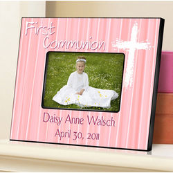 The Light of God Pink First Communion Personalized Picture Frame