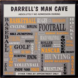 Man Cave Personalized Plaque