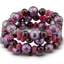 Sangria Fuchsia Freshwater Pearl and Gemstone Coil Bracelet