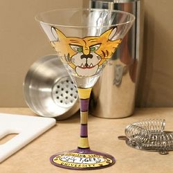 LSU Tigers Hand-Painted Martini Glass