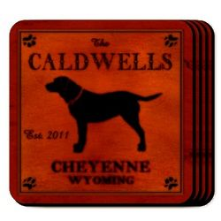 Personalized Labrador Wooden Coaster Set