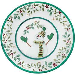 Winterberry Round Glass Snowman Platter