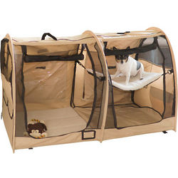 Two Compartment Soft Side Dog Travel Carrier and Portable Kennel