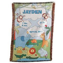 Blue Personalized Baby Information Jungle Throw