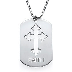 Cut-Out Cross Sterling Silver Dog Tag Necklace