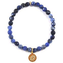 Customized City or Zodiac Charm Bracelet with Sodalite Beads