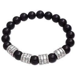 Men's Midnight Bark Onyx Beaded Stretch Bracelet