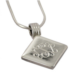 Monogrammed Engraved Sterling Silver Pendant