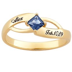 18K Gold Over Sterling Square Birthstone Name and Date Ring