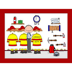 Personalized Firefighter Cartoon Matted Print