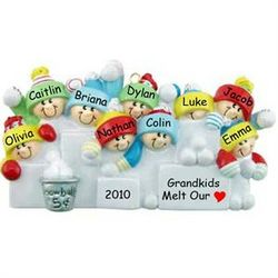 Personalized Snowball Fight Family of 9 Ornament