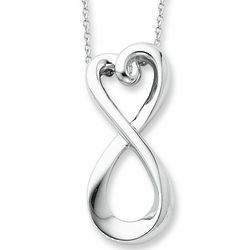 Infinity Heart Love Necklace in Sterling Silver
